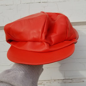 VINTAGE BERET Red Leather Hat Womens